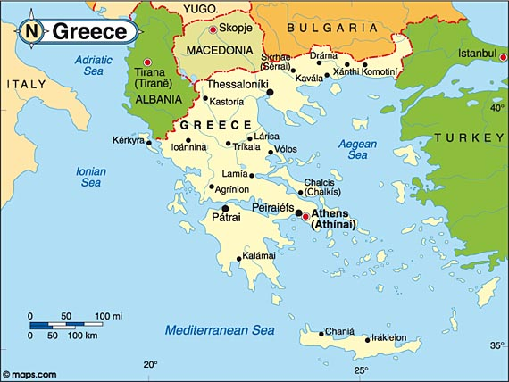 A map showing Greece.