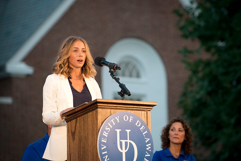 Nikki Dombrowski speaks at the 2016 Twilight Induction Ceremony