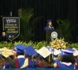 Shelby Dorr giving convocation speech