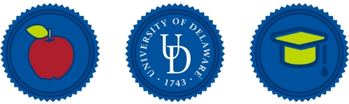 Apple icon, UD logo and graduation cap icon