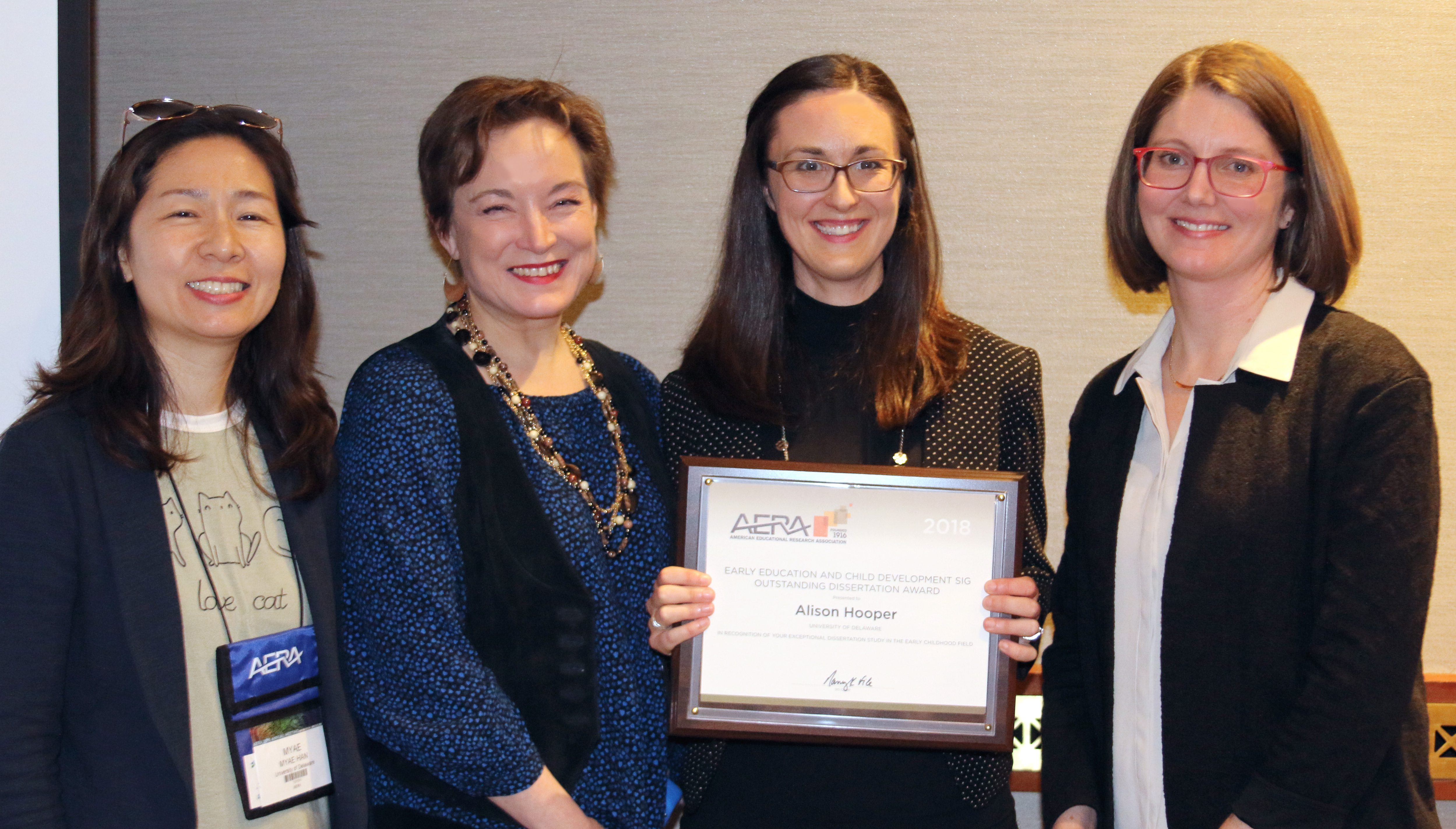 Alison Hooper and HDFS faculty at AERA award ceremony