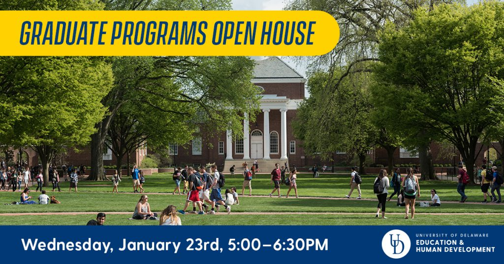 """Students walk on campus. Text says, """"Graduate Programs Open House! Wednesday, January 23rd."""""""