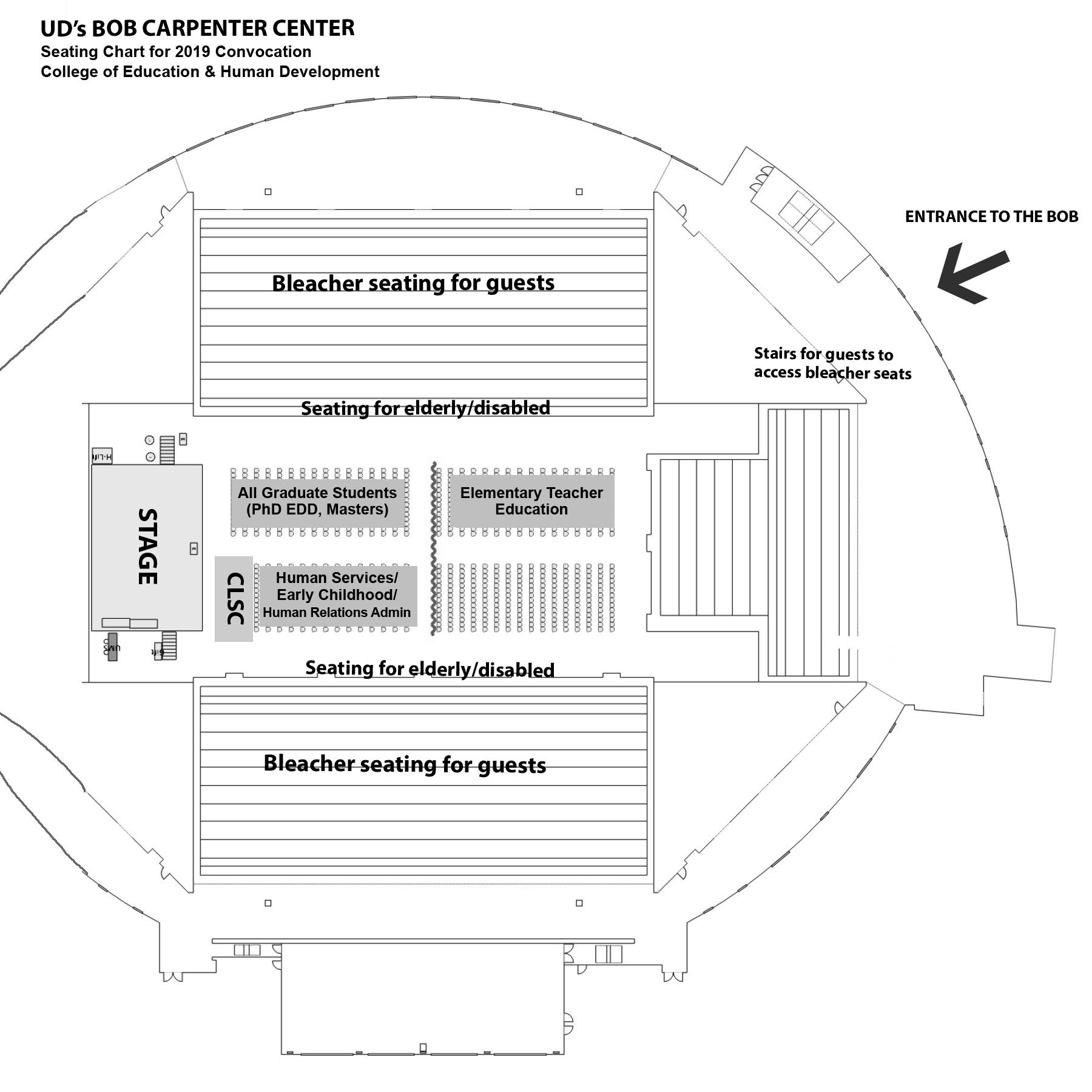 Bob Carpenter Center seating chart for graduation