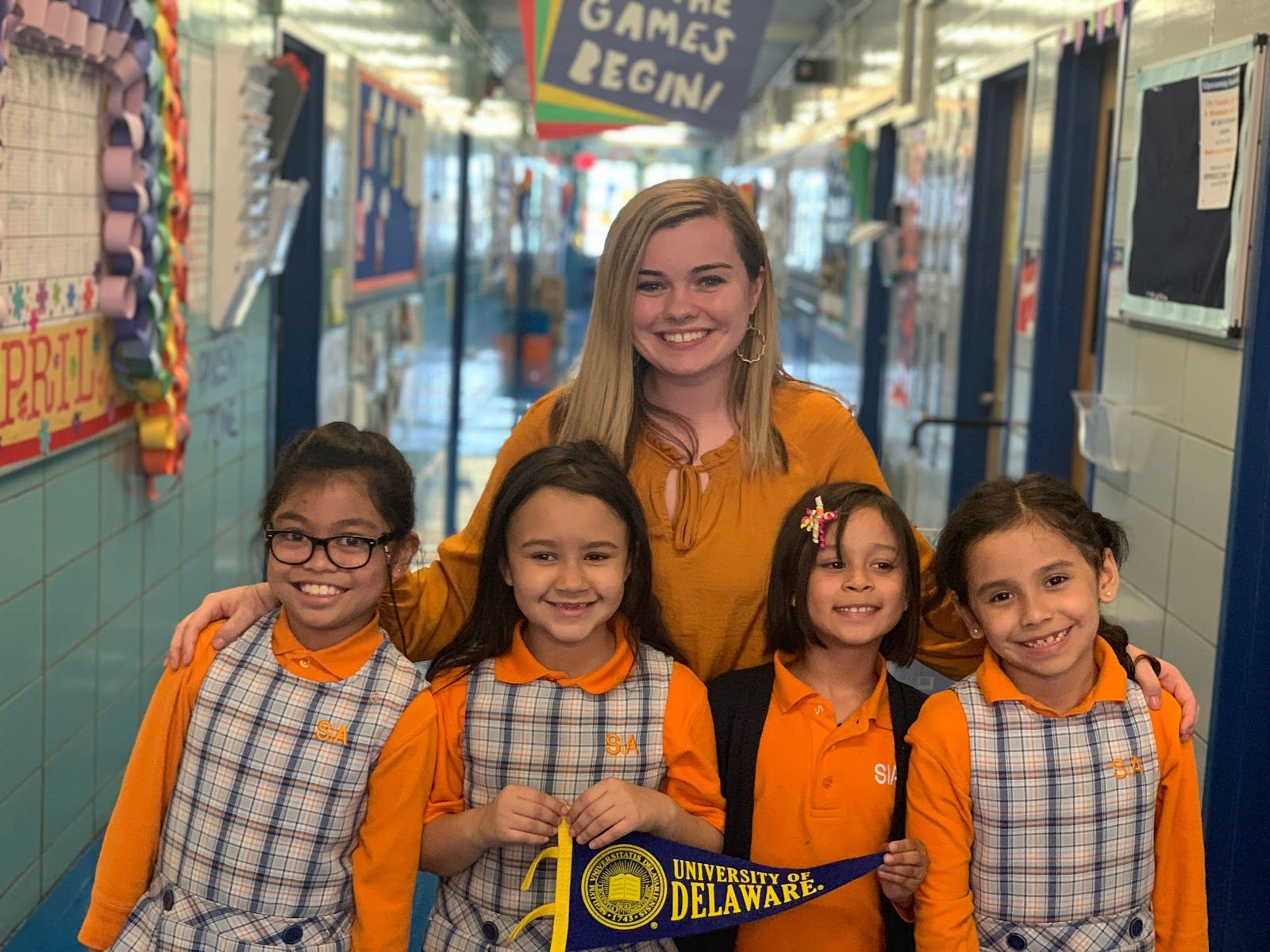 Kelsey Shallow ('18) and her scholars from Success Academy Harlem 4