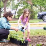 Adult and child add plants to garden on the Children's Campus