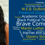 This image shows a photo of Janine de Novias and a word bubble with classroom vocabulary, language from her research, and the names of black writers.