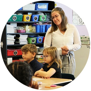 Student teacher in Clayton, Delaware, classroom
