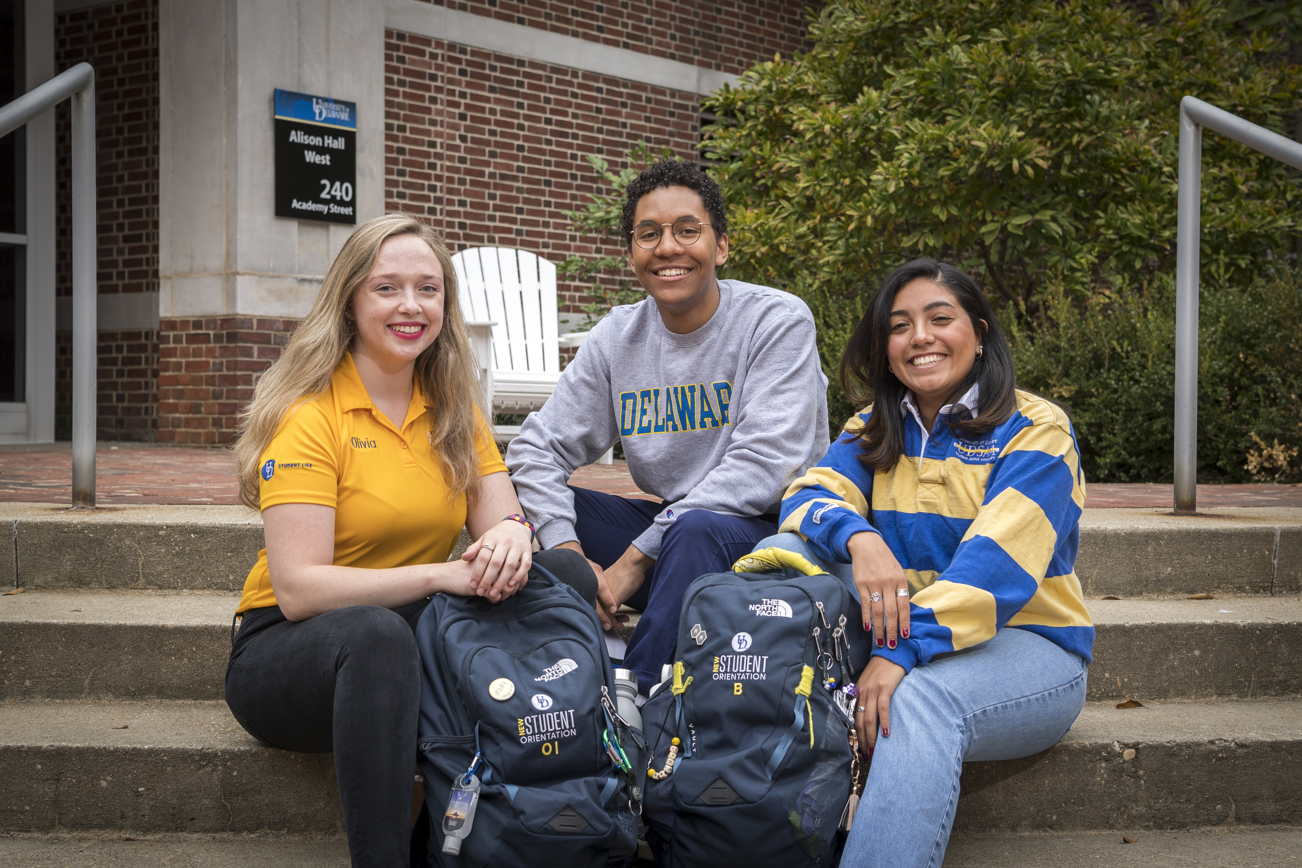 Students Olivia Ingman (left), Brenda Juarez (right) and Josh Lewis (center) are all seniors who worked this summer as NSO Orientation Leaders for incoming freshman.