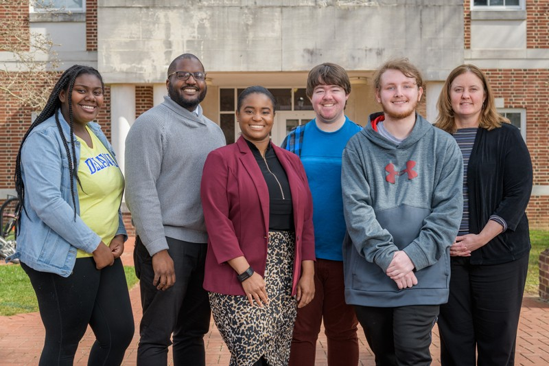 rom left to right are student Anij'ya Wilson, program manager Imani Powell, program coordinator Deandra Taylor, student Cooper Middleton, student Michael Sensenig and senior assistant dean Kristine Ritz.