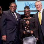 Melissa Lewis was honored with the 2020 Louis L. Redding Diversity Award. Joining her at the ceremony were (left to right) Provost Robin Morgan, Interim Vice Provost for Diversity and Inclusion Michael Vaughan and President Dennis Assanis.