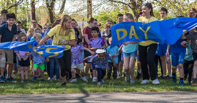 students, staff and faculty in UD's College of Education and Human Development helped organize ACES Day, which stands for All Children Exercise Simultaneously