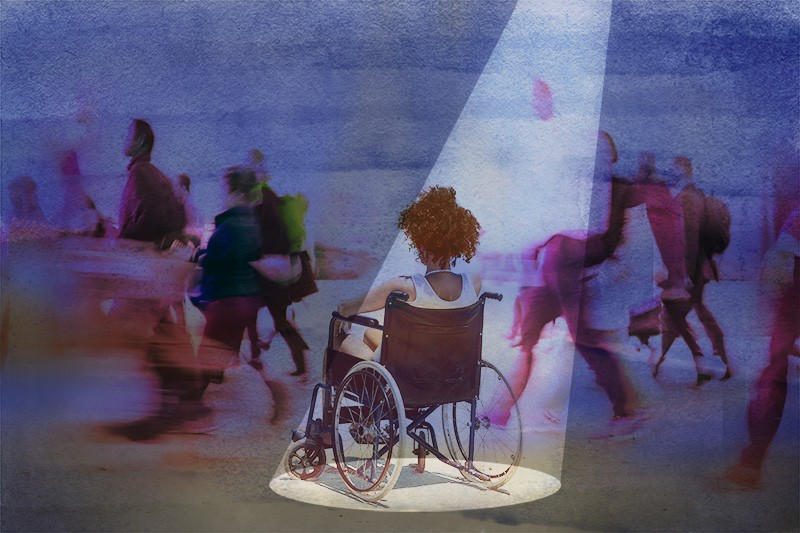 Illustration showing a woman sitting in a wheelchair from behind