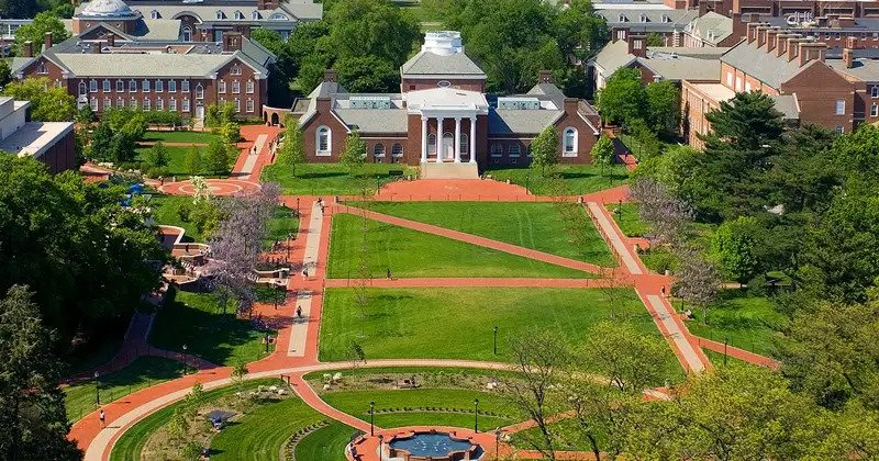 Aerial shot of the University of Delaware campus