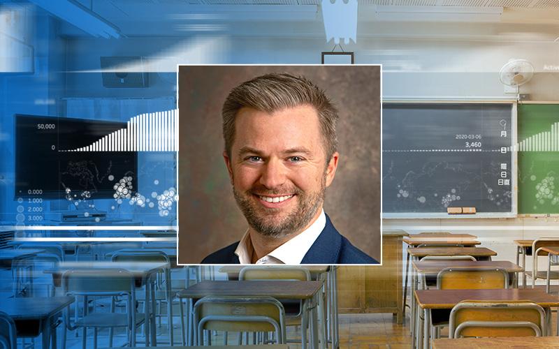 Illustration of Bryan Van Gronigen and a classroom