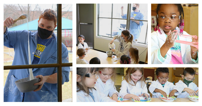 Tyler Van Buren, a UD mechanical engineering assistant professor, teaching science to Early Learning Center students