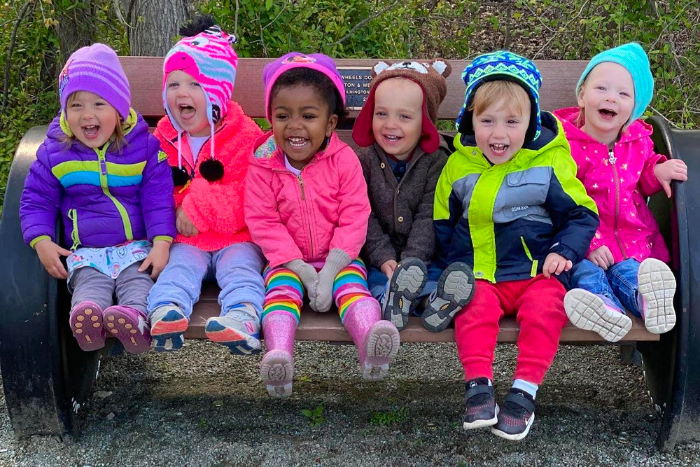 Toddlers outside at the UD Early Learning Center