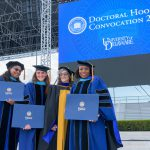 Hooding ceremony for 2020 and 2021 Doctoral Candidates, held on May 27th, 2021 in Delaware Stadium under the direction of UD President Dennis Assanis and Lou Rossi, Dean of the Graduate College and Vice Provost for Graduate and Professional Education.