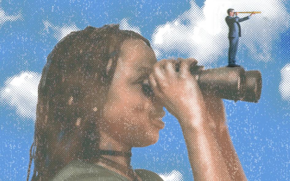 Illustration of young Black girl looking through binoculars