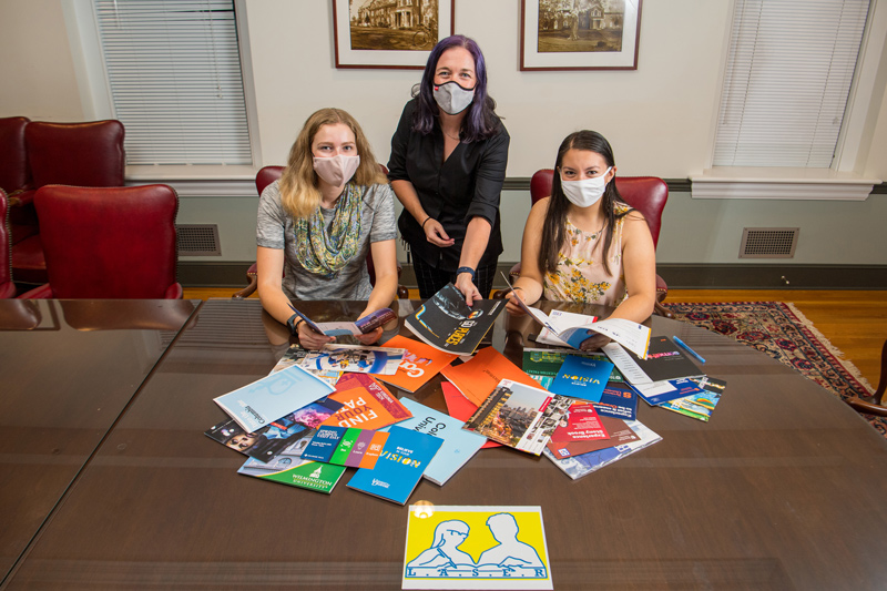 During National Hispanic Heritage Month, students Amanda Reed (left) and Lucia Pastor (right) work alongside Prof. Meghan Dabkowski to launch LASER, an organization whose mission is to create a critical mass of Hispanic/Latinx students on UD's campus.